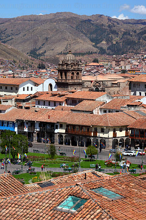 View of  Plaza de Armas with La Merced church tower, Cusco, Peru