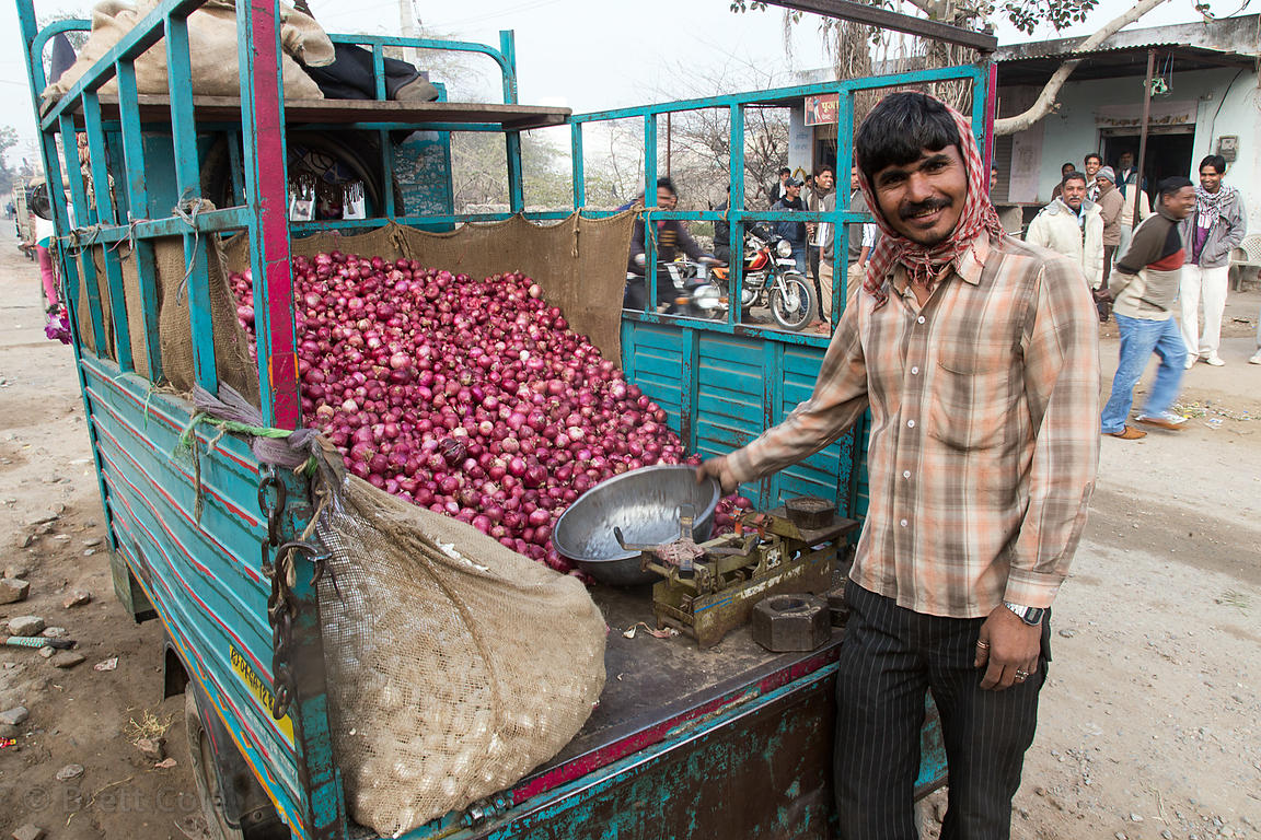 Man selling onions from a truck, Jyoti Nagar, Ajmer, Rajasthan, India