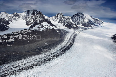 Aerial view of the top of Neumayer Glacier showing moraine, South Georgia, Antarctica, December 2006