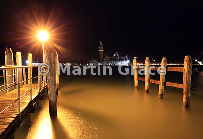 Bacino di San Marco (St Mark's Basin) with San Giorgio Maggiore (church) beyond, at night, Venice, Italy