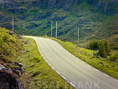 Road in countryside, Lofoten, Norway
