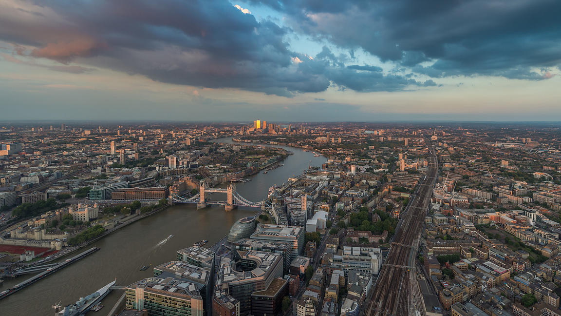 Aerial View of Tower Bridge and London Skyline at Dusk