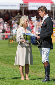 William Fox-Pitt receives his prize from the Duchess of Cornwall - show jumping phase,  Mitsubishi Motors Badminton Horse Trials, 6th May 2013.