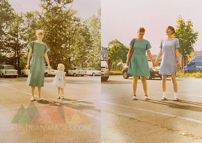 Mother and daughter in now and then photos, standing hand in hand in parking lot