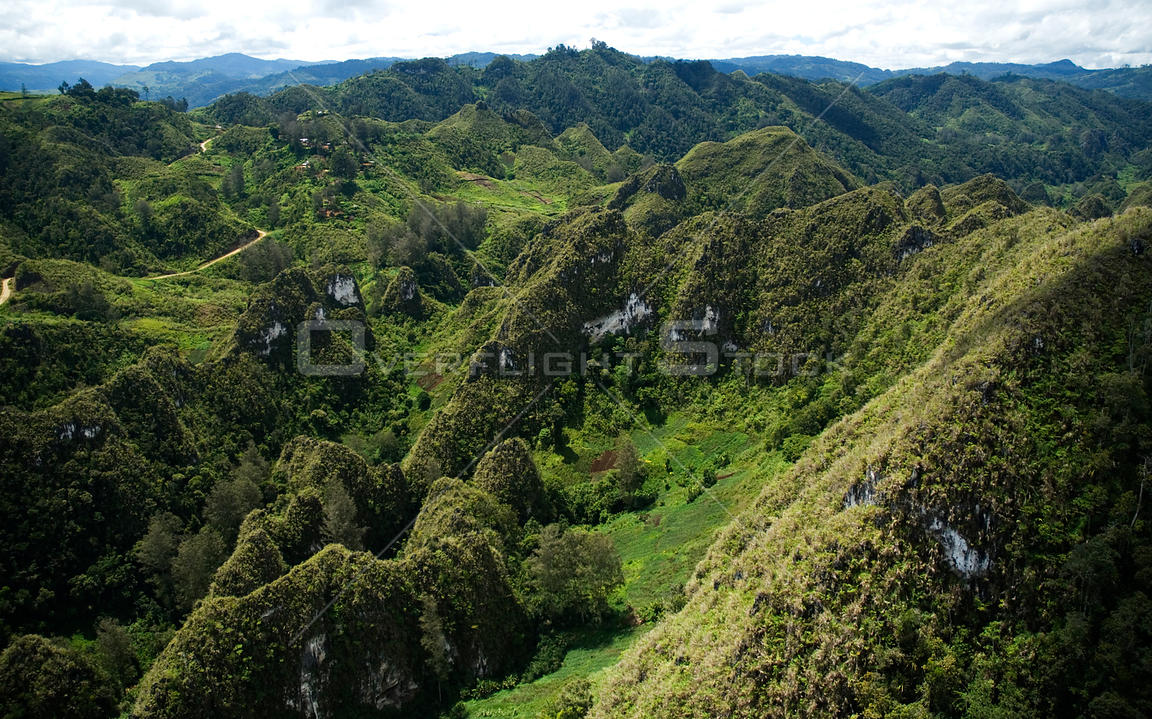 Aerial view of mountains in centre of Papua New Guinea, August 2007