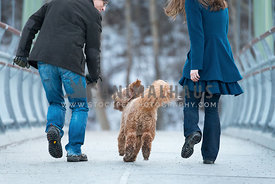 couple running with labradoodle dog