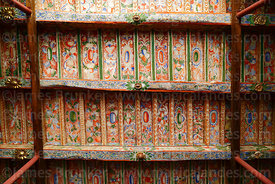 Painted wooden ceiling above main entrance of Church of the Immaculate Conception, Checacupe, Cusco Region, Peru