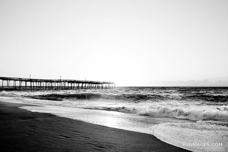 FRISCO FISHING PIER SUNRISE ATLANTIC OCEAN CAPE HATTERAS OUTER BANKS NORTH CAROLINA BLACK AND WHITE