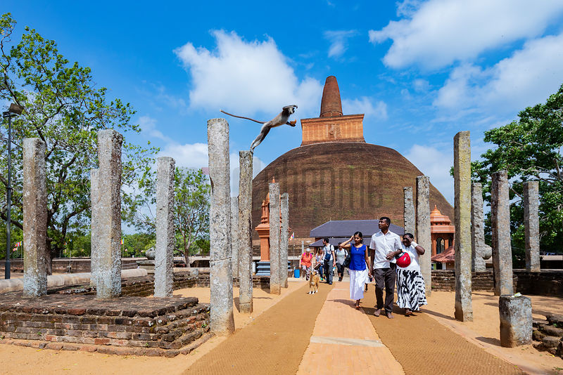 Tourists Leave Abayagiri Stupa