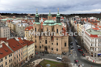 Church of St Nicholas (1732-1737) from Old Town Hall Tower, Old Town Square, Prague, Czech Republic