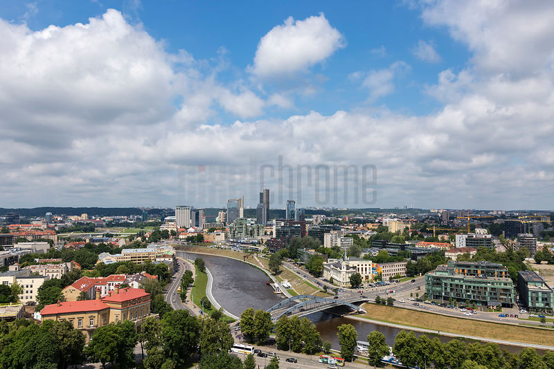 Elevated View of Modern Vilnius and the River Nemunas