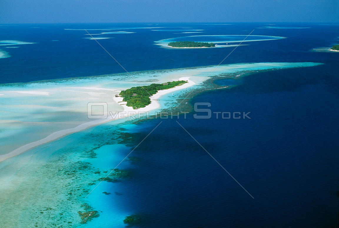 Coral Atolls from the air, South Male Atoll, Maldives