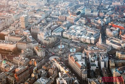 Aerial view of Trafalgar square at sunset, London, UK
