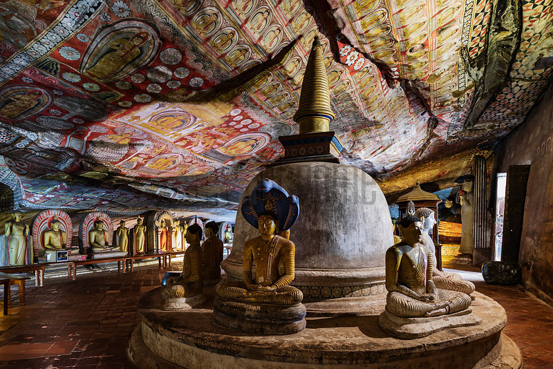 Interior of the Great Cave at Dambulla