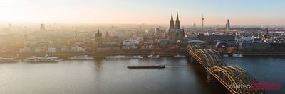 Panoramic of river Rhine at sunset, Cologne, Germany