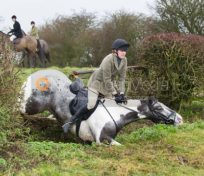 Rhianne Platts jumping near the new Jubilee Covert - Cottesmore Hunt at Deane Bank Farm 4/12/12