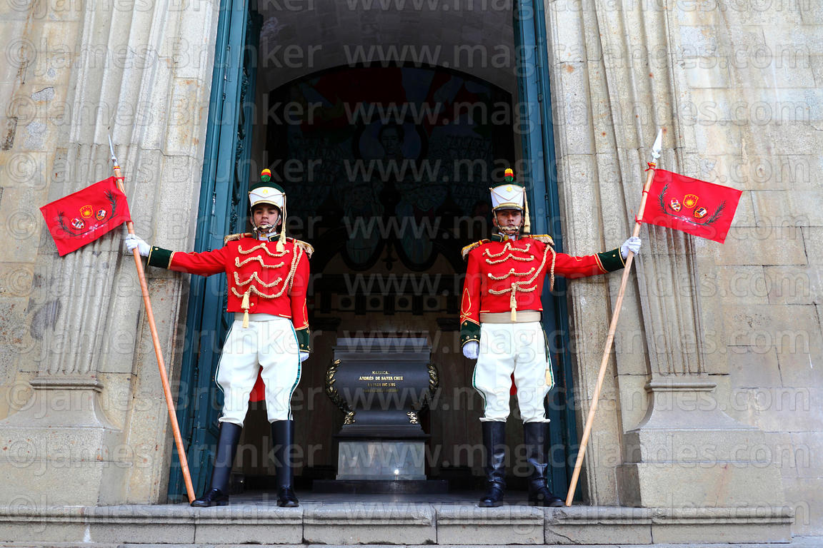 Guards outside entrance to cathedral side chapel that contains the tomb of Mariscal Andrés de Santa Cruz, Plaza Murillo, La P...