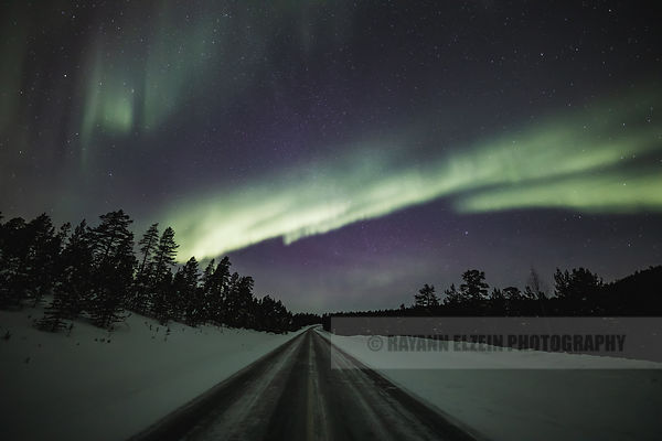 Aurora above the road in Inari