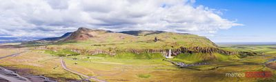 Panoramic aerial of Seljalandsfoss waterfall, Iceland