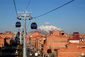 Blue Line cable car cabins, Mt Illimani in background, El Alto, Bolivia