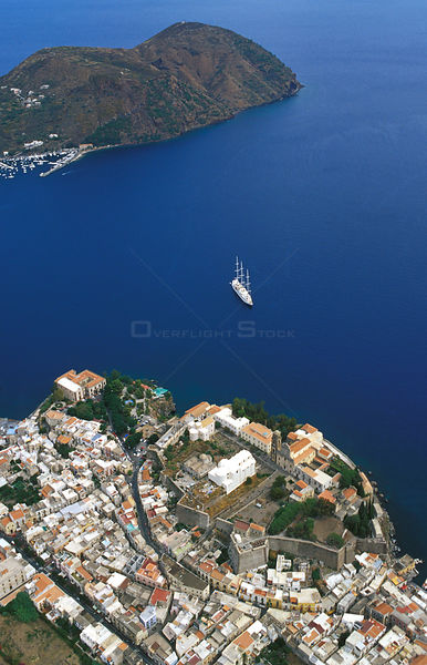 Aerial view of the coast of Lipari, an island in the Aeolian Islands of Italy's Mediterranean sea.