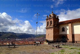 San Cristobal church and plaza with city in background, Cusco, Peru