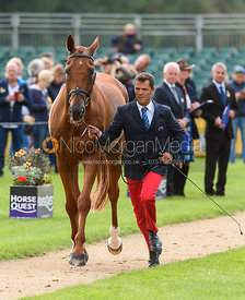 Cedric Lyard and QATAR DU PUECH ROUGET at the trot up, Land Rover Burghley Horse Trials 2018