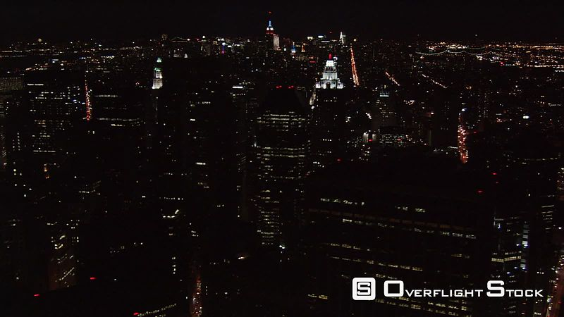 Night flight up Manhattan's East Side.