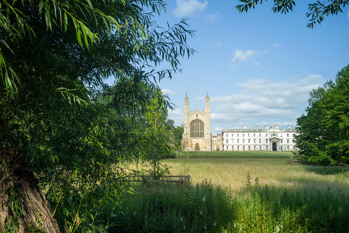 King's College and King's College chapel as seen from the King's Backs across the River Cam