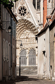 Bourges cathedral seen from an old street