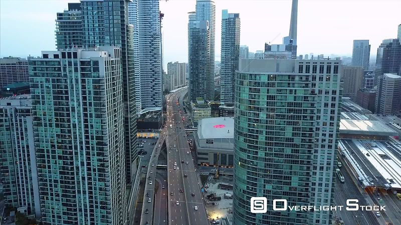 Union Station Dusk Look During Solar Eclipse. Drone Video Downtown CN Tower Toronto Ontario Canada