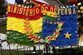 Detail of floral tribute with the Bolivian national flag (L) and the Navy flag (R) from the Ministry of Defence,  Dia del Mar...