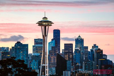 The Space Needle and skyline at sunrise, Seattle, USA