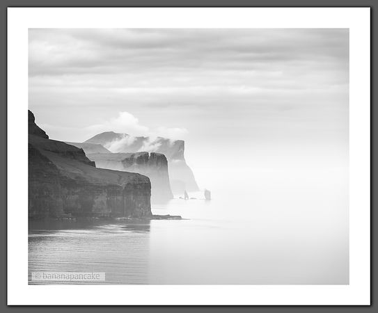 Cliffs, Faroe Islands Black and White Print