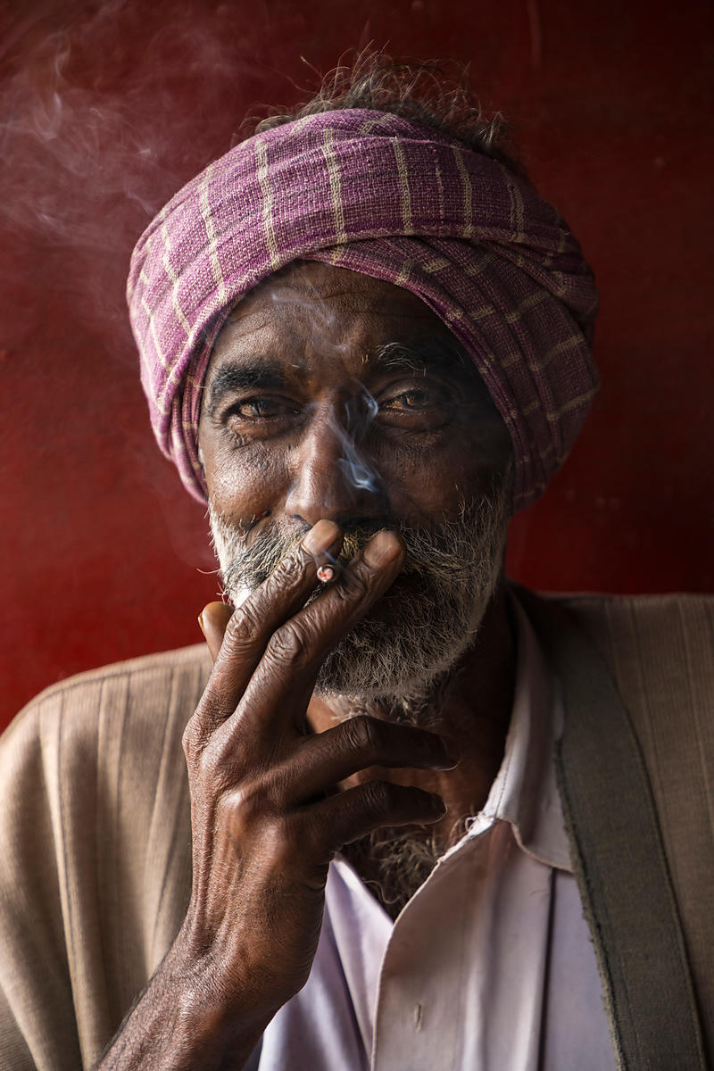 Portrait of a Man Smoking a Bidi (Cigarette)