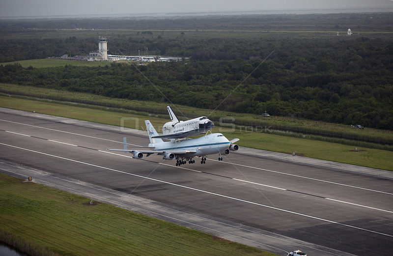 Endeavour Departs Kennedy -- Sept. 19, 2012 --  Wheels up! Space shuttle Endeavour, secured atop NASA's modified 747 Shuttle ...