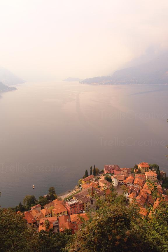 Aerial view of Varenna, Italy from the Castello di Vezio in Perledo, Italy.