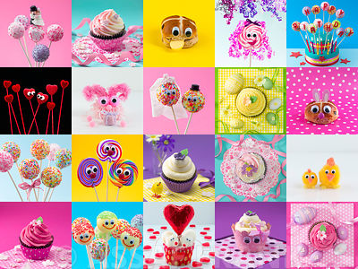 Collage of Cup cakes