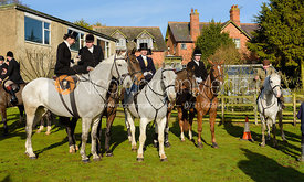 Amy Bryan-Dowell, Chloe Edgar, Bruce Langley McKim at The Cottesmore meet at Priory Farm