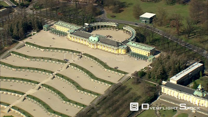 Flying past Sanssouci Palace in Potsdam, near Berlin