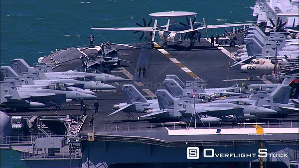 Aerial of the deck of an Aircraft Carrier. Western Cape South Africa