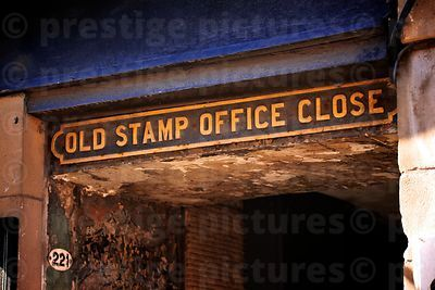 Sign for the OLD STAMP OFFICE CLOSE in the High Street Edinburgh