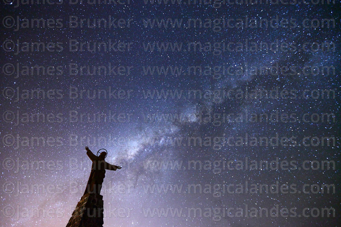 Christ statue and Milky Way Galactic Centre, La Cumbre, Cordillera Real, Bolivia