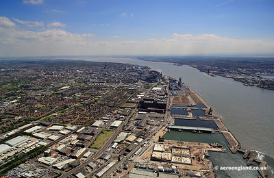 aerial photograph of Vauxhall  and vicinity in   Liverpool  Merseyside England UK