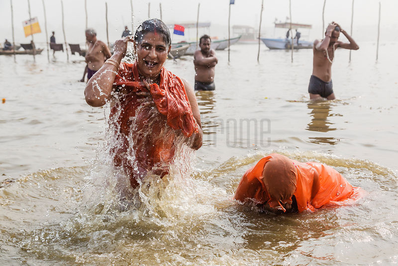 Pilgrims Bathing at the Sangam on the Ganges River