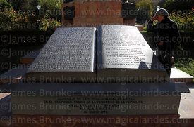 Carved stone book with text of the Proclamation of the Junta Tuitiva, Plaza Murillo, La Paz, Bolivia