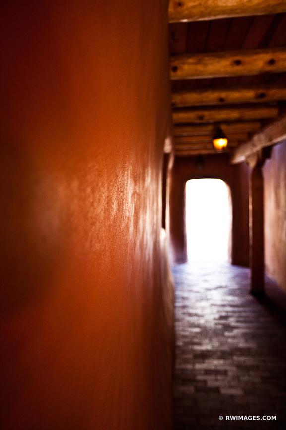 HALLWAY IN ADOBE BUILDING SANTA FE NEW MEXICO