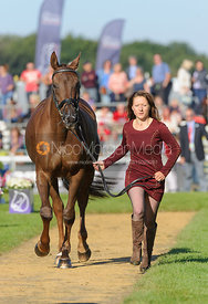 Alex Postolowsky and ISLANMORE GINGER - The final vets inspection (trot up),  Land Rover Burghley Horse Trials, 8th September...