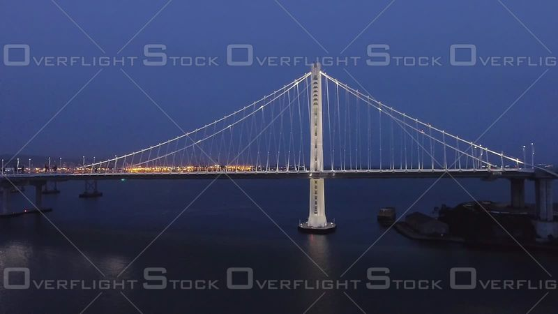San Francisco Bay Bridge Dusk Wide North Side Distant Road Level