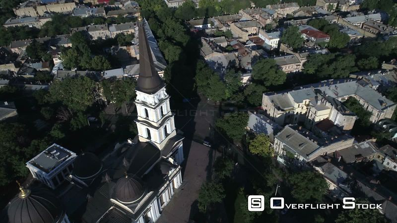 Real time aerial rotation around the spire of Preobrazhensky Cathedral Odessa Ukraine